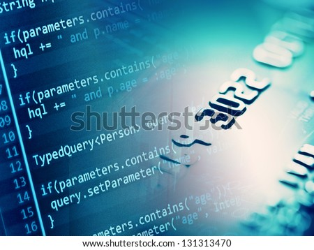 Finance background with program code and credit card - stock photo
