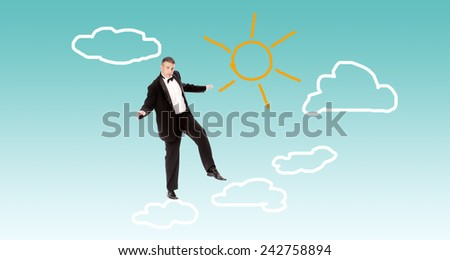 Finance business.Businessman in tuxedo on clouds - stock photo