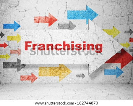 Finance concept:  arrow with Franchising on grunge textured concrete wall background, 3d render - stock photo