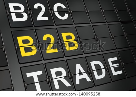 Finance concept: B2b on airport board background, 3d render - stock photo