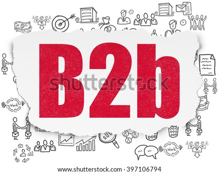 Finance concept: B2b on Torn Paper background - stock photo