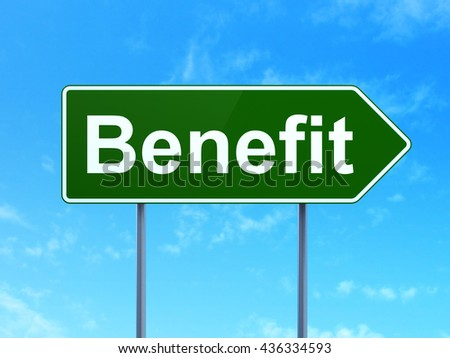 Finance concept: Benefit on green road highway sign, clear blue sky background, 3D rendering
