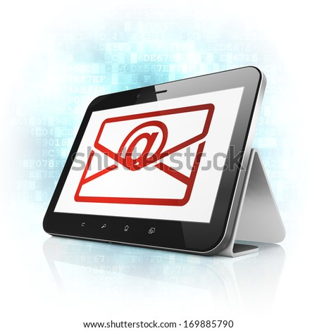 Finance concept: black tablet pc computer with Email icon on display. Modern portable touch pad on Blue Digital background, 3d render - stock photo