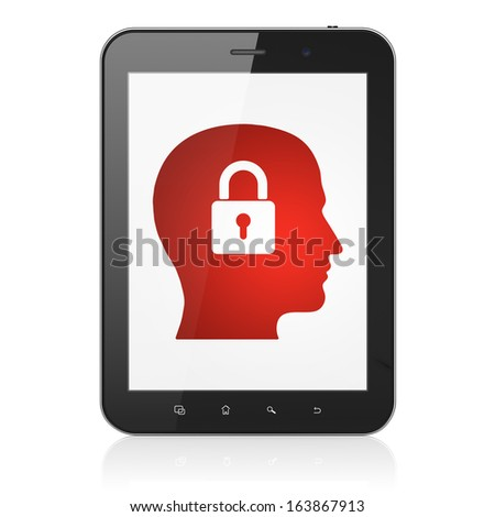 Finance concept: black tablet pc computer with Head With Padlock icon on display. Modern portable touch pad on White background, 3d render