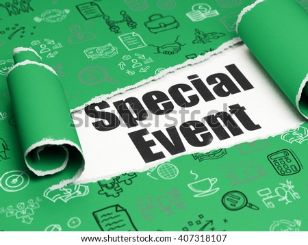 Finance concept: black text Special Event under the curled piece of Green torn paper with  Hand Drawn Business Icons, 3D rendering