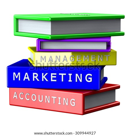 Finance concept:  Books Management, Marketing, Accounting isolated on white background. 3D render.