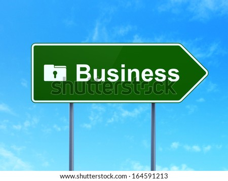 Finance concept: Business and Folder With Keyhole icon on green road (highway) sign, clear blue sky background, 3d render