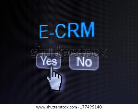 Finance concept: buttons yes and no with pixelated word E-CRM and Hand cursor on digital computer screen, selected focus 3d render - stock photo