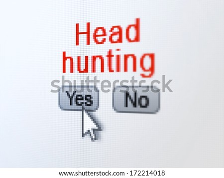 Finance concept: buttons yes and no with pixelated word Head Hunting and Arrow cursor on digital computer screen, selected focus 3d render - stock photo