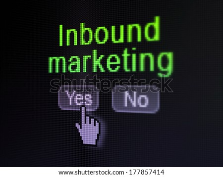 Finance concept: buttons yes and no with pixelated word Inbound Marketing and Hand cursor on digital computer screen, selected focus 3d render - stock photo