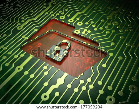 Finance concept: circuit board with Folder With Lock icon, 3d render
