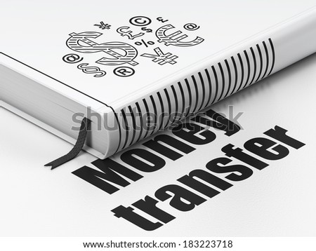 Finance concept: closed book with Black Finance Symbol icon and text Money Transfer on floor, white background, 3d render
