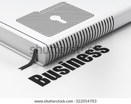 Finance concept: closed book with Black Folder With Keyhole icon and text Business on floor, white background, 3d render
