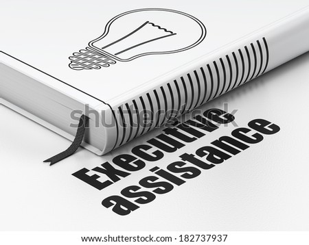 Finance concept: closed book with Black Light Bulb icon and text Executive Assistance on floor, white background, 3d render