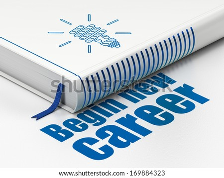 Finance concept: closed book with Blue Energy Saving Lamp icon and text Begin New Career on floor, white background, 3d render