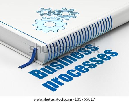 Finance concept: closed book with Blue Gears icon and text Business Processes on floor, white background, 3d render
