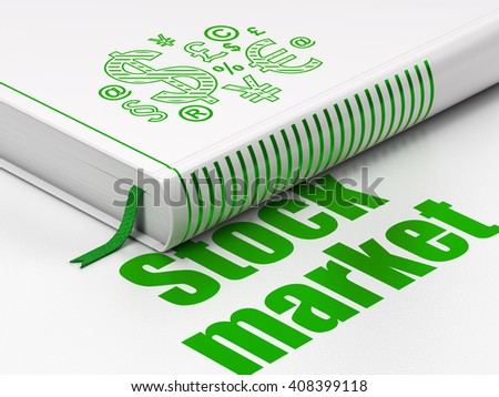 Finance concept: closed book with Green Finance Symbol icon and text Stock Market on floor, white background, 3D rendering - stock photo
