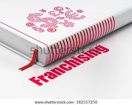 Finance concept: closed book with Red Finance Symbol icon and text Franchising on floor, white background, 3d render - stock photo