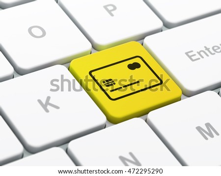Finance concept: computer keyboard with Credit Card icon on enter button background, selected focus, 3D rendering