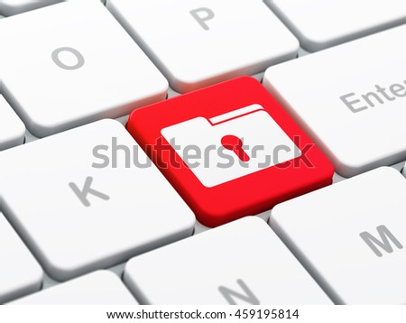 Finance concept: computer keyboard with Folder With Keyhole icon on enter button background, selected focus, 3D rendering