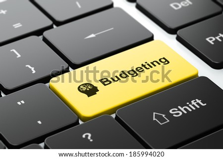 Finance concept: computer keyboard with Head With Finance Symbol icon and word Budgeting, selected focus on enter button, 3d render - stock photo