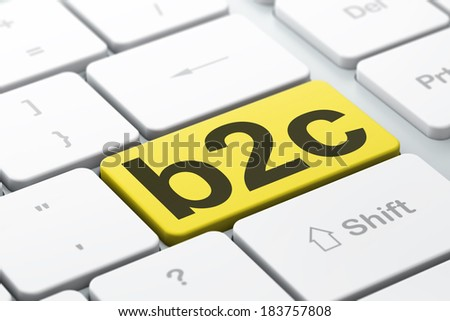 Finance concept: computer keyboard with word B2c, selected focus on enter button background, 3d render - stock photo