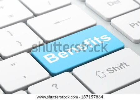 Finance concept: computer keyboard with word Benefits, selected focus on enter button background, 3d render - stock photo