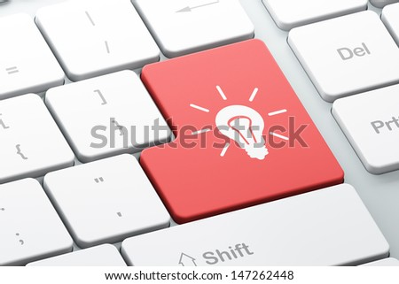 Finance concept: Enter button with Light Bulb on computer keyboard background, 3d render