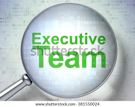 Finance concept: Executive Team with optical glass - stock photo