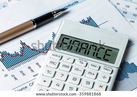 finance concept:finance displayed on calculator