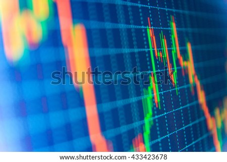 Finance concept. Financial graph on a computer monitor screen. Background stock chart. Analysing stock market data on a monitor. Blue background with stock chart. Tools of technical analysis.   - stock photo