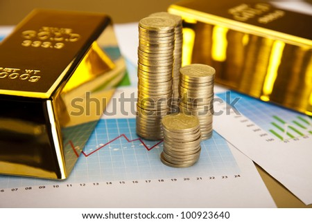 Finance Concept, Gold bars and coins - stock photo