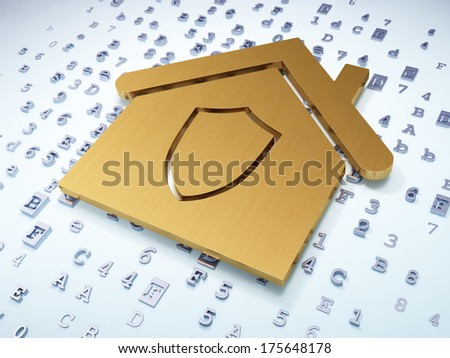 Finance concept: Golden Home on digital background, 3d render - stock photo