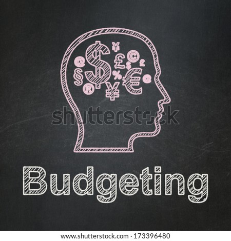 Finance concept: Head With Finance Symbol icon and text Budgeting on Black chalkboard background, 3d render
