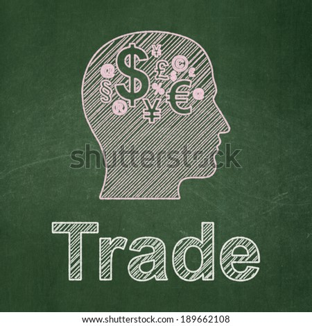 Finance concept: Head With Finance Symbol icon and text Trade on Green chalkboard background, 3d render