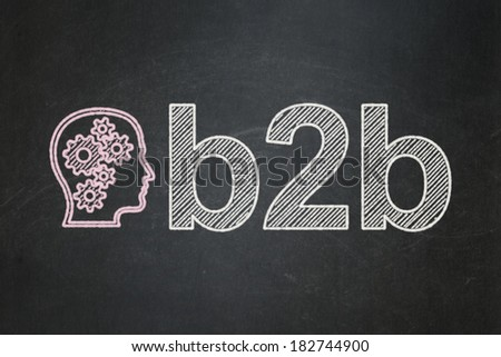 Finance concept: Head With Gears icon and text B2b on Black chalkboard background, 3d render - stock photo