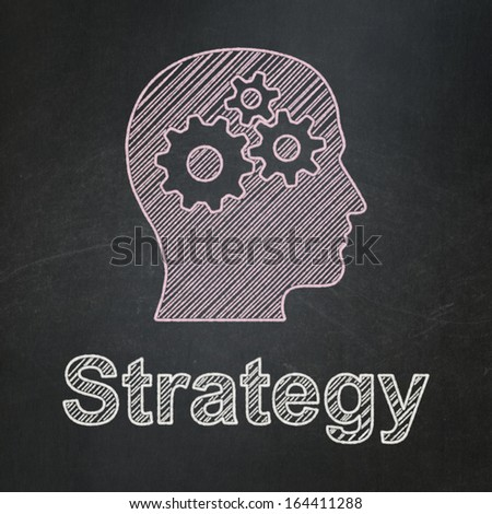Finance concept: Head With Gears icon and text Strategy on Black chalkboard background, 3d render