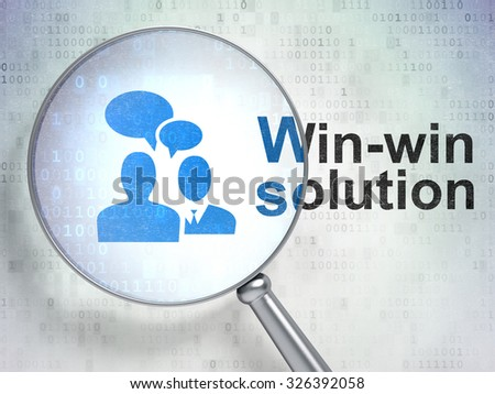 Finance concept: magnifying optical glass with Business Meeting icon and Win-win Solution word on digital background - stock photo