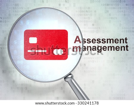 Finance concept: magnifying optical glass with Credit Card icon and Assessment Management word on digital background