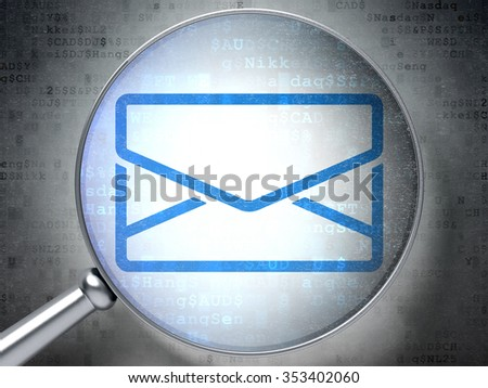 Finance concept: magnifying optical glass with Email icon on digital background - stock photo