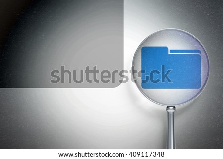 Finance concept: magnifying optical glass with Folder icon on digital background, empty copyspace for card, text, advertising, 3D rendering - stock photo