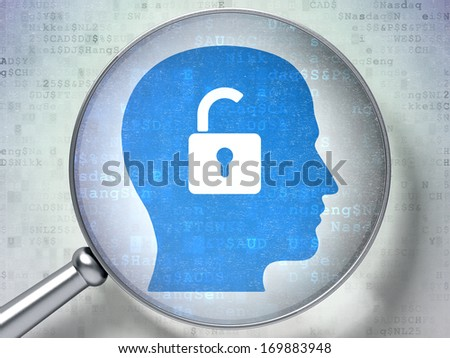 Finance concept: magnifying optical glass with Head With Padlock icon on digital background, 3d render