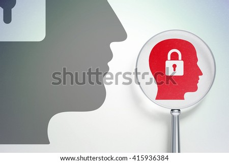 Finance concept: magnifying optical glass with Head With Padlock icon on digital background, empty copyspace for card, text, advertising, 3D rendering - stock photo