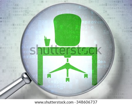 Finance concept: magnifying optical glass with Office icon on digital background