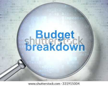Finance concept: magnifying optical glass with words Budget Breakdown on digital background - stock photo