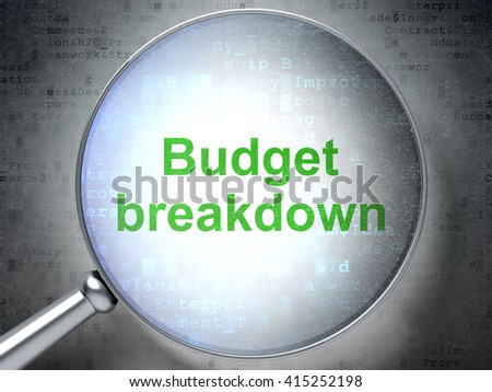 Finance concept: magnifying optical glass with words Budget Breakdown on digital background, 3D rendering - stock photo