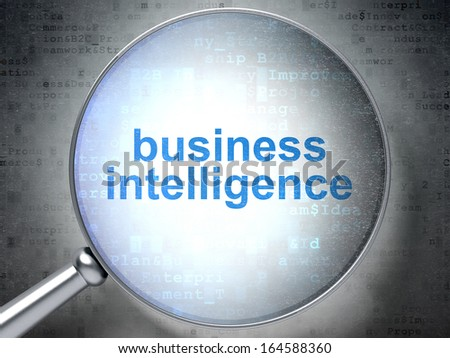 Finance concept: magnifying optical glass with words Business Intelligence on digital background, 3d render - stock photo