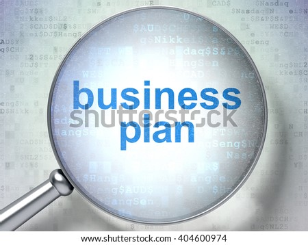 Finance concept: magnifying optical glass with words Business Plan on digital background, 3D rendering - stock photo