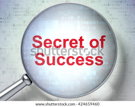 Finance concept: magnifying optical glass with words Secret of Success on digital background, 3D rendering - stock photo