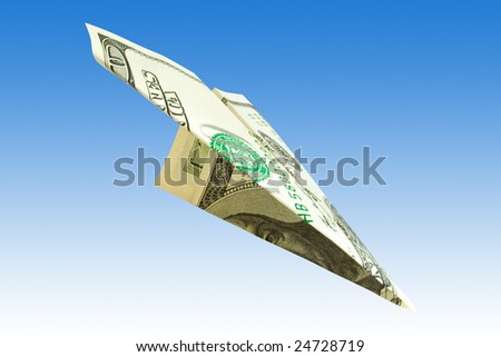 finance concept. money plane over blue background - stock photo